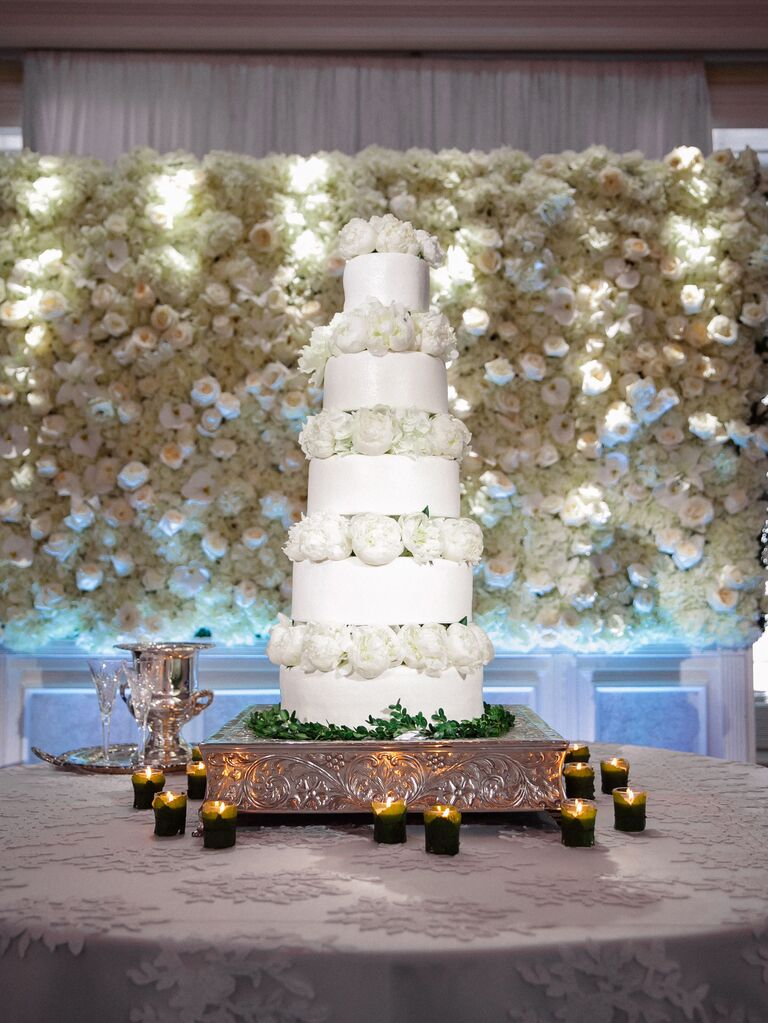 Flower wall behind cake