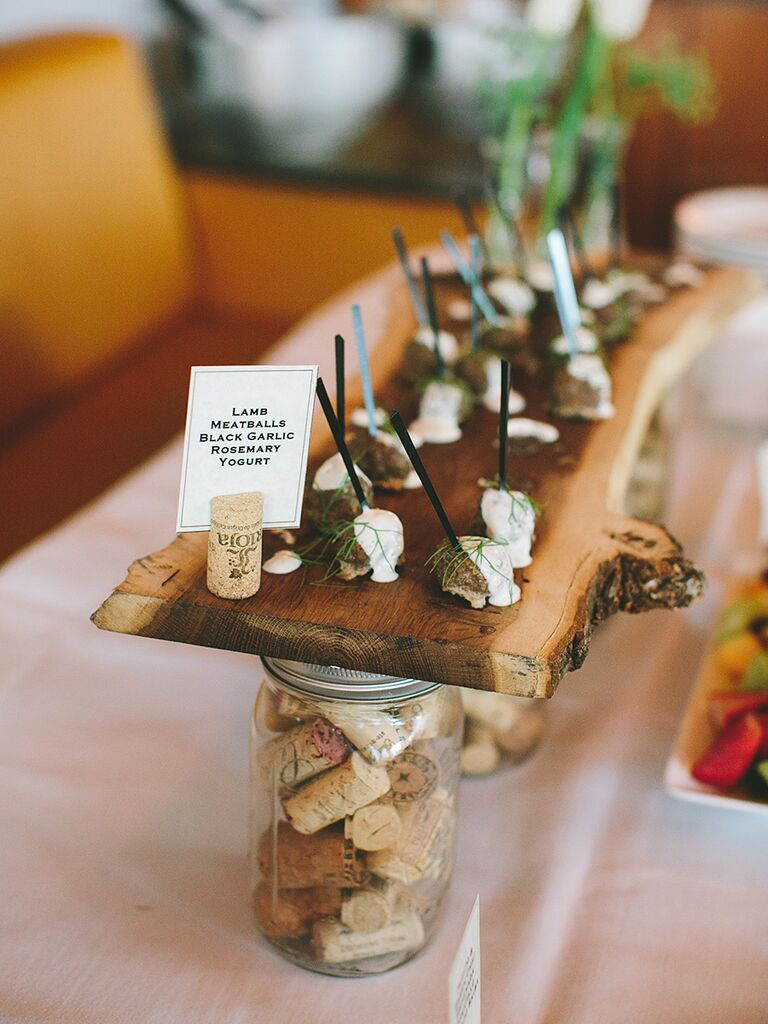 Rustic family style appetizer buffet idea for wedding reception food