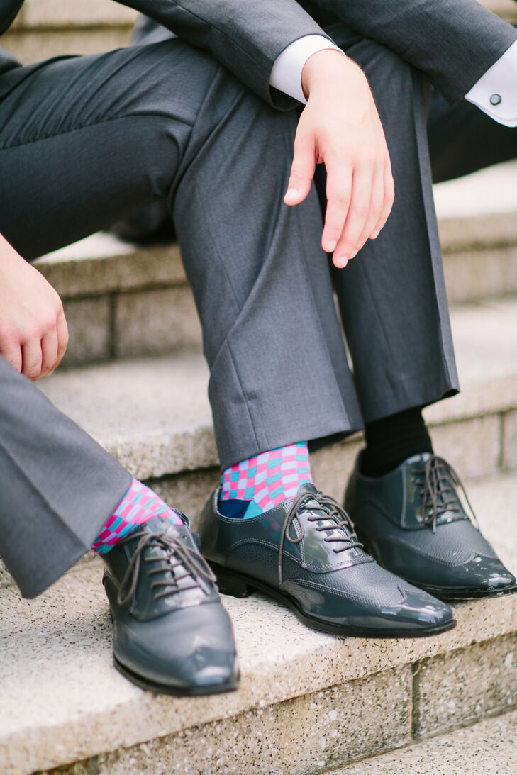 Colorful Pink Groomsmen Socks