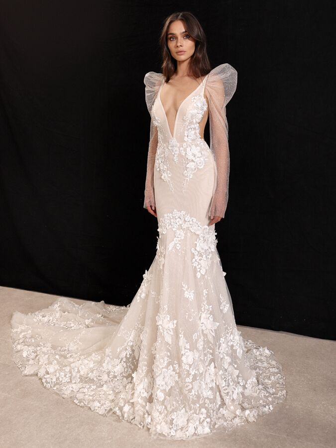 Gala by Galia Lahav fit-and-flare mermaid wedding dress and large puff shoulder sleeves