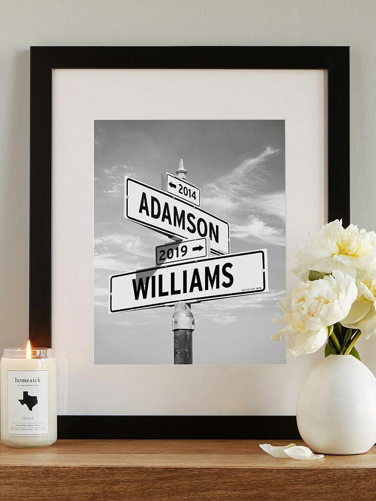 personalized road sign art print