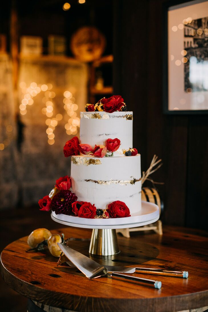 Red-and-Gold Two-Tier Wedding Cake at New Liberty Distillery in Philadelphia