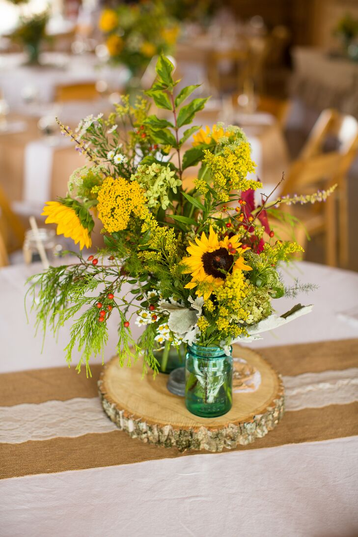 Sunflower and Greenery Centerpieces