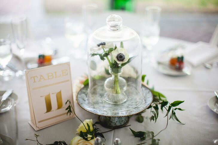 Bell Jar Centerpiece on an Antique Cake Stand
