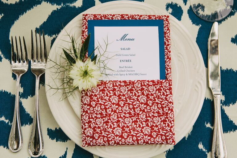 Red White and Blue Floral Ikat Place Setting With Cream Flower