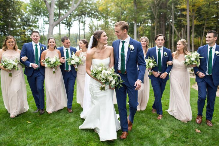 Wedding Party in Neutral Dresses and Blue Suits with Green Ties