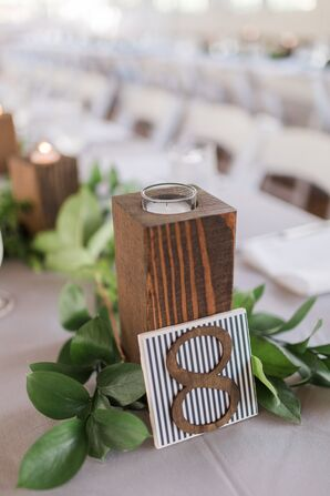 Wooden Table Number on Striped Background
