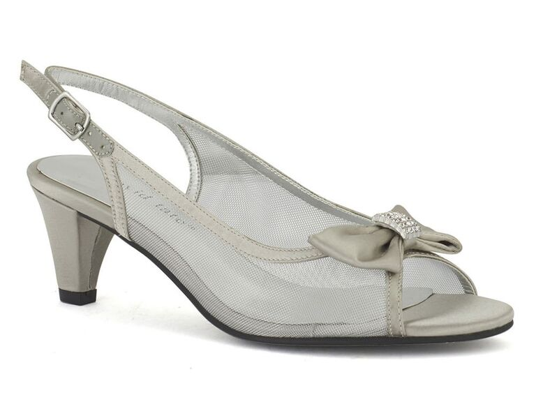 Silver bow comfortable wedding heels