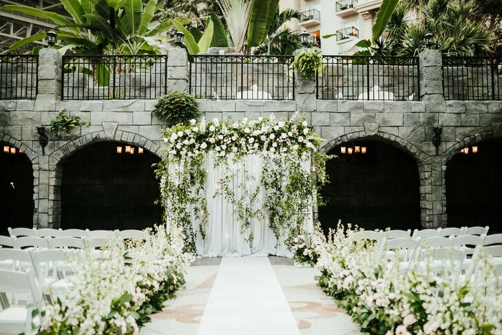 Greenery-Filled Wedding Ceremony at Gaylord Palms Resort in Orlando, Florida