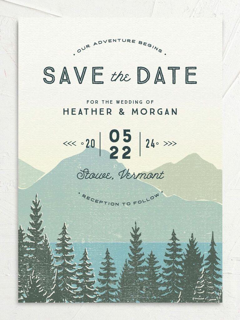 mountain destination wedding save the date
