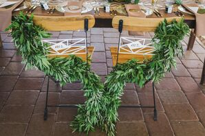 Wooden Chairs With Green Garland