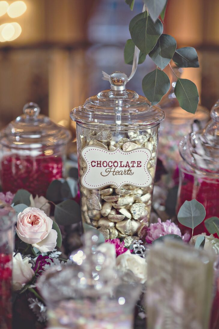 The Valentine's Day themed candy bar was filled with treats like conversation hearts, Swedish fish, cherry sours, red hots and chocolate hearts.