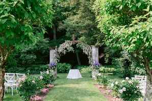 Wisteria-Filled Ceremony Space at Chesterwood Estate in Stockbridge, Massachusetts