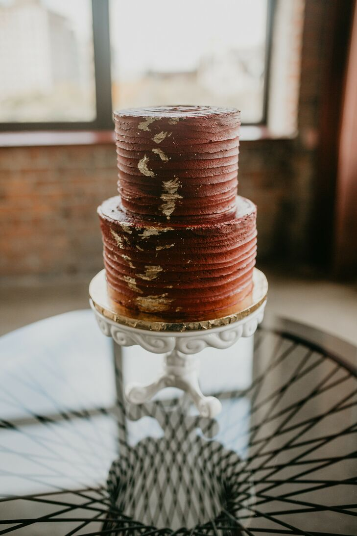 Moody Burgundy Wedding Cake at Eclectic Detroit Wedding