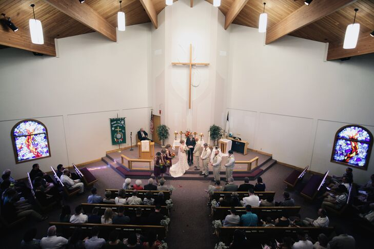 """We had our wedding in our hometown [Elk Point, South Dakota] at Immanuel Lutheran Church and the reception at The Pointe [the country club in town],"" Ashleigh says."