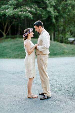 Bohemian-Inspired Short Reception Dress and Flower Crown