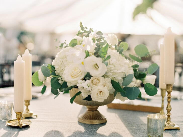 Classic Centerpiece with White Peonies, Orchids, Roses and Eucalyptus