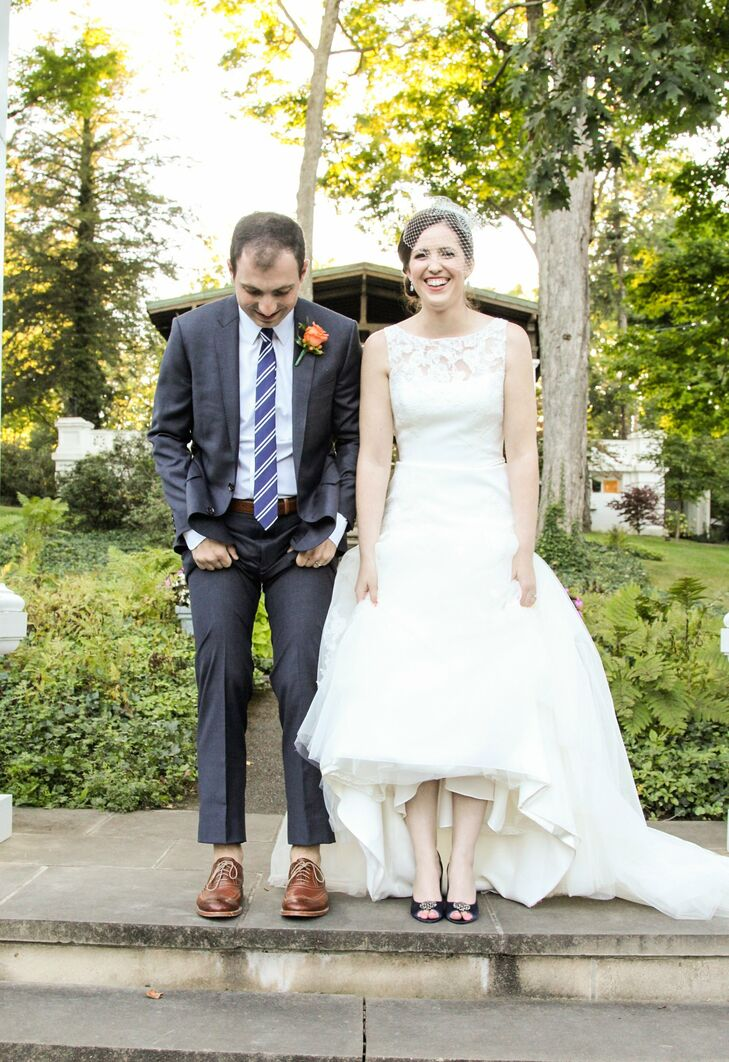 Allison's navy Nina shoes matched her bridesmaids' dresses and provided a nice contrast to her Blue by Enzoani gown.