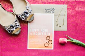Pink and Orange Ombre Wedding Invitations