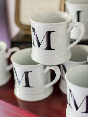 Monogrammed Mugs at Coffee Bar
