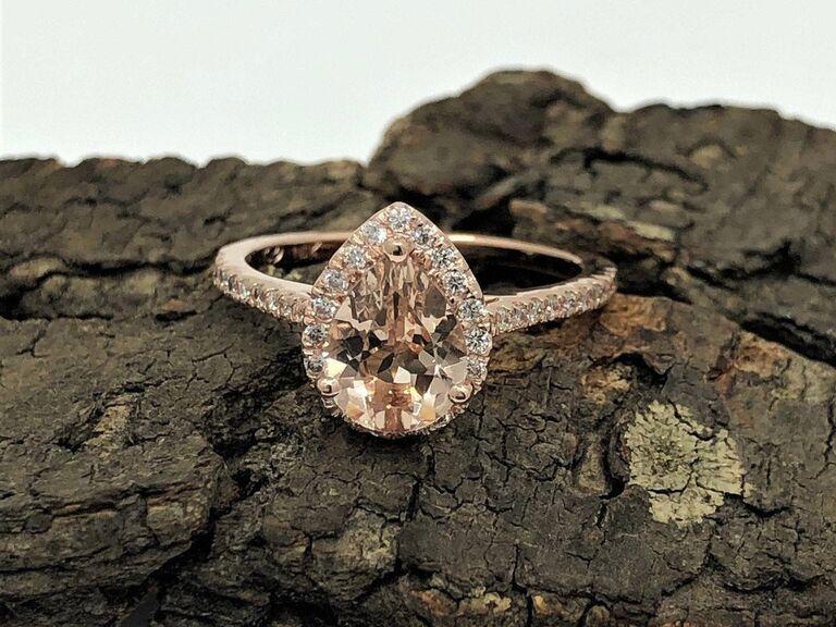 LoveForeverJewelrySV pear morganite ring in 14K rose gold