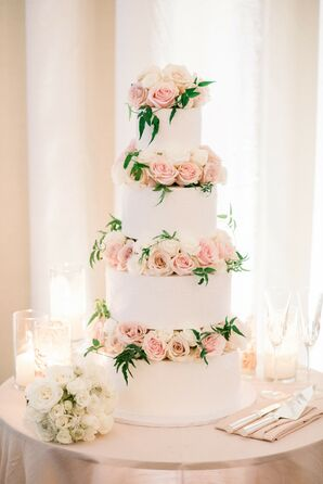 Rose-Clad Cake at Luxurious Bel-Air Bay Club Wedding in California
