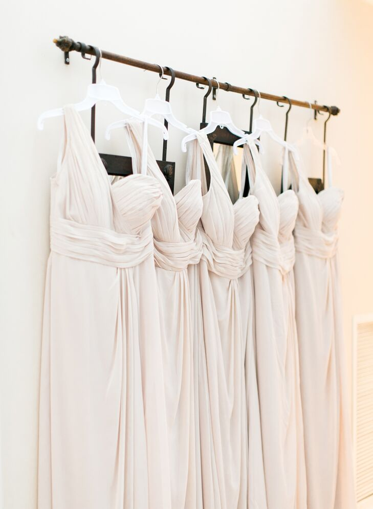 Pale Blush One-Shoulder Bill Levkoff Bridesmaid Dresses