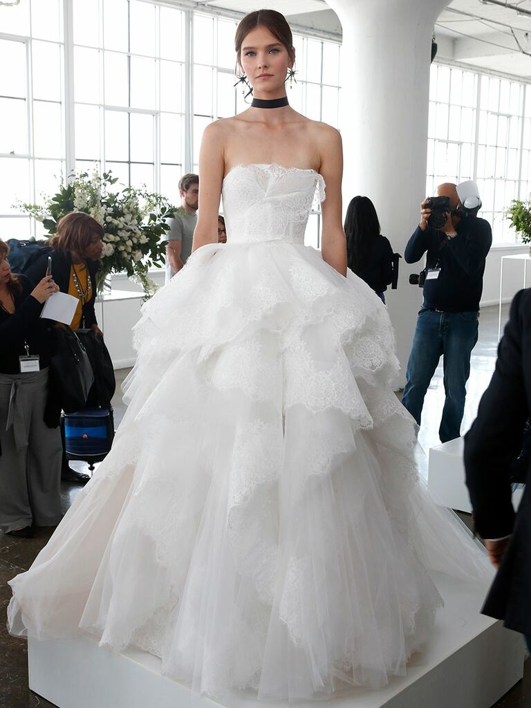 b8d13e2650f6 Marchesa Spring 2018 strapless ball gown with a structured corset bodice