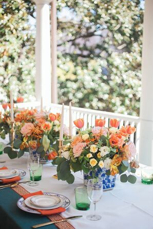 Pink, Orange Rose and Tulip Centerpieces