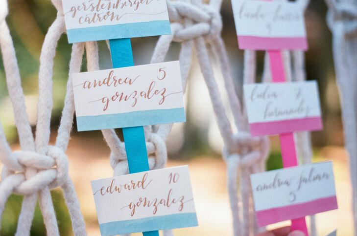 Colorful Hand-Lettered Escort Cards