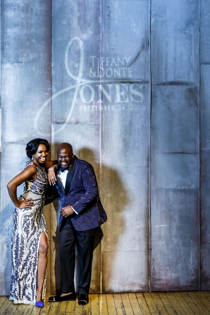 African-American Couple in Blue Reception Outfits with Custom Logo