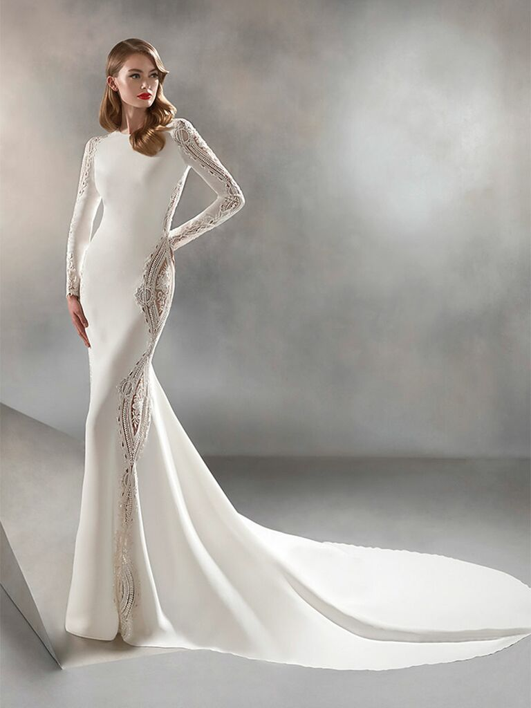 Atelier Provonias wedding dress long-sleeve lace panel dress