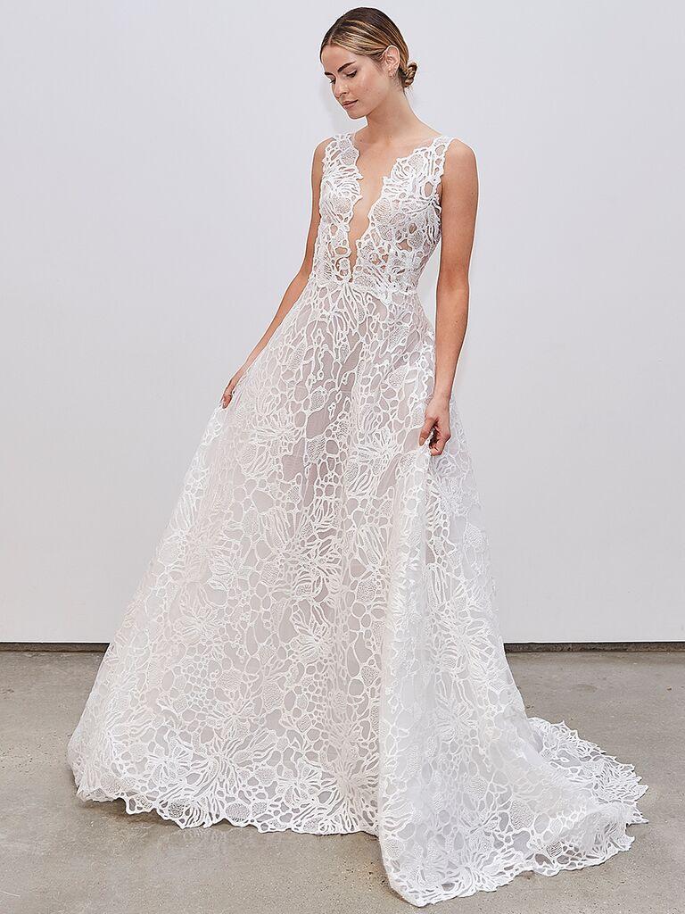 Francesca Miranda A-line wedding dress with V-neckline