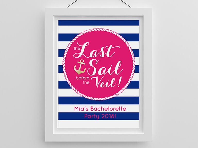 personalized nautical bachelorette party sign