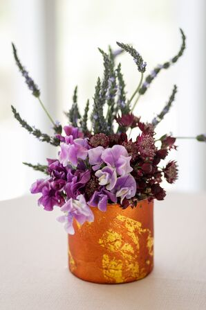 Copper Case with Lavender, Hyacinth and Wildflower Arrangement
