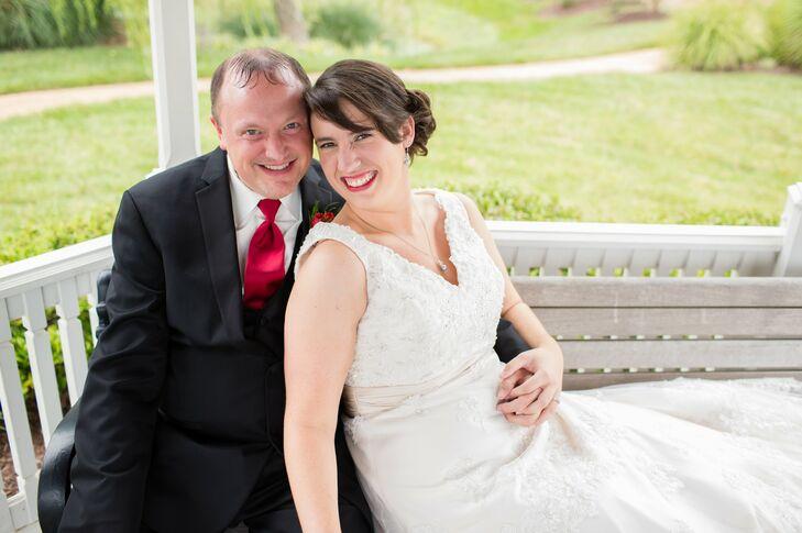Bride and Groom Posed in Gazebo