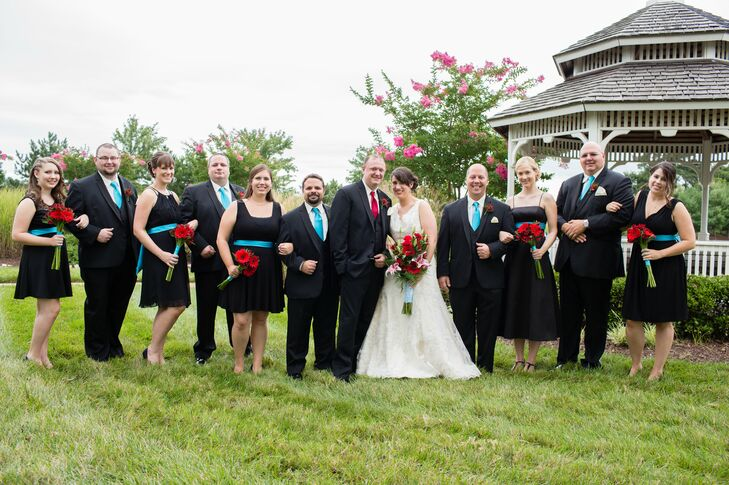 Wedding Party in Teal and Black Accents