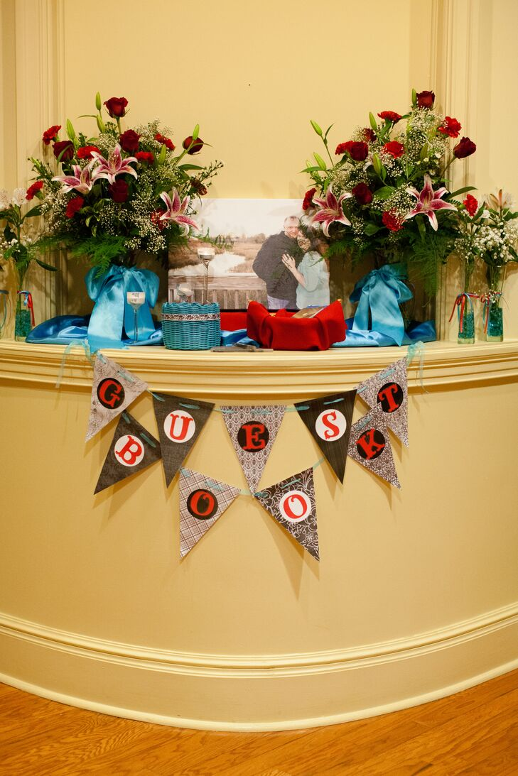 Red and Teal Guest Book Display