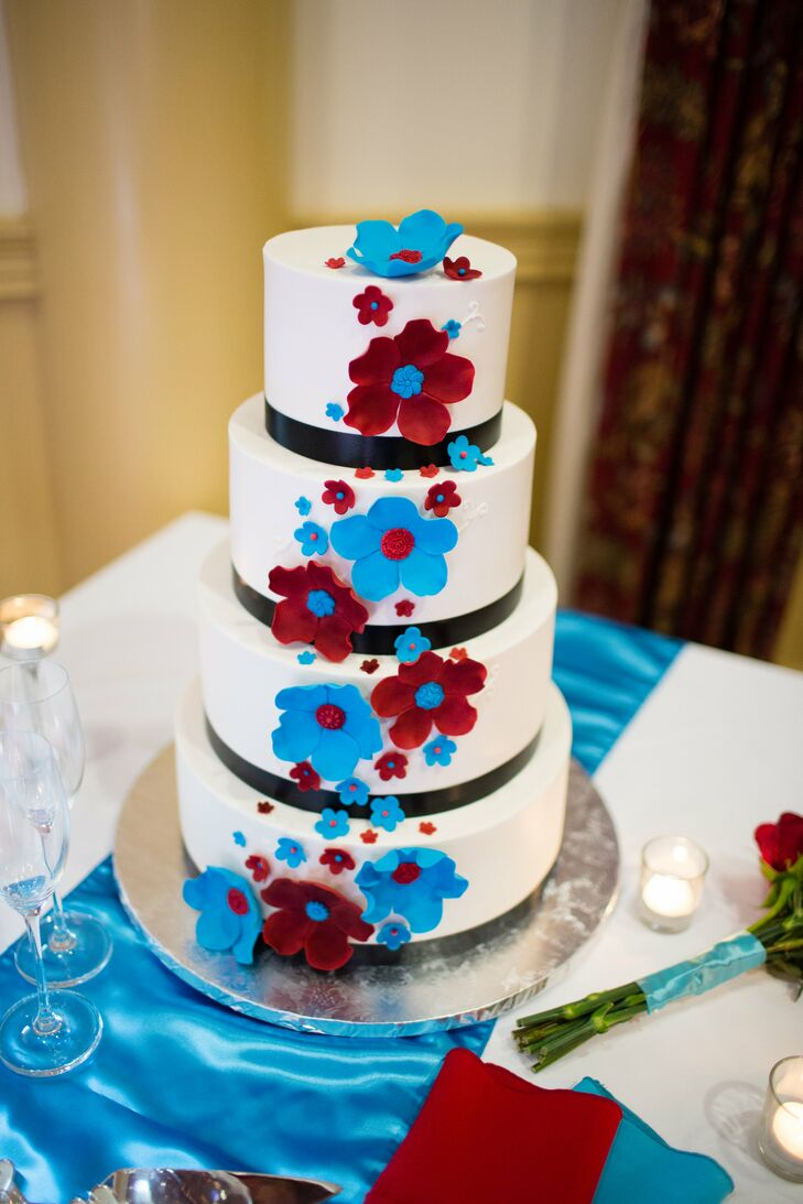 Ivory Wedding Cake Teal And Red Accents