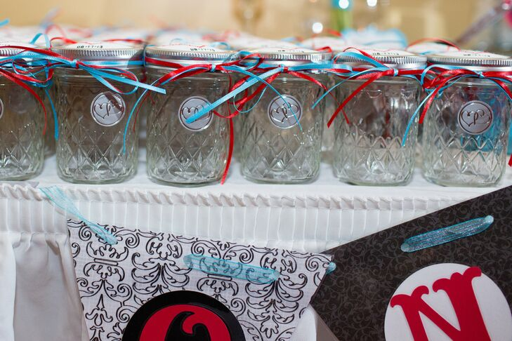 Teal and Red Tied Glass Jars