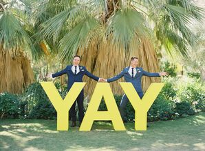 Couple with YAY Sign at Colony 29 in Palm Springs, California