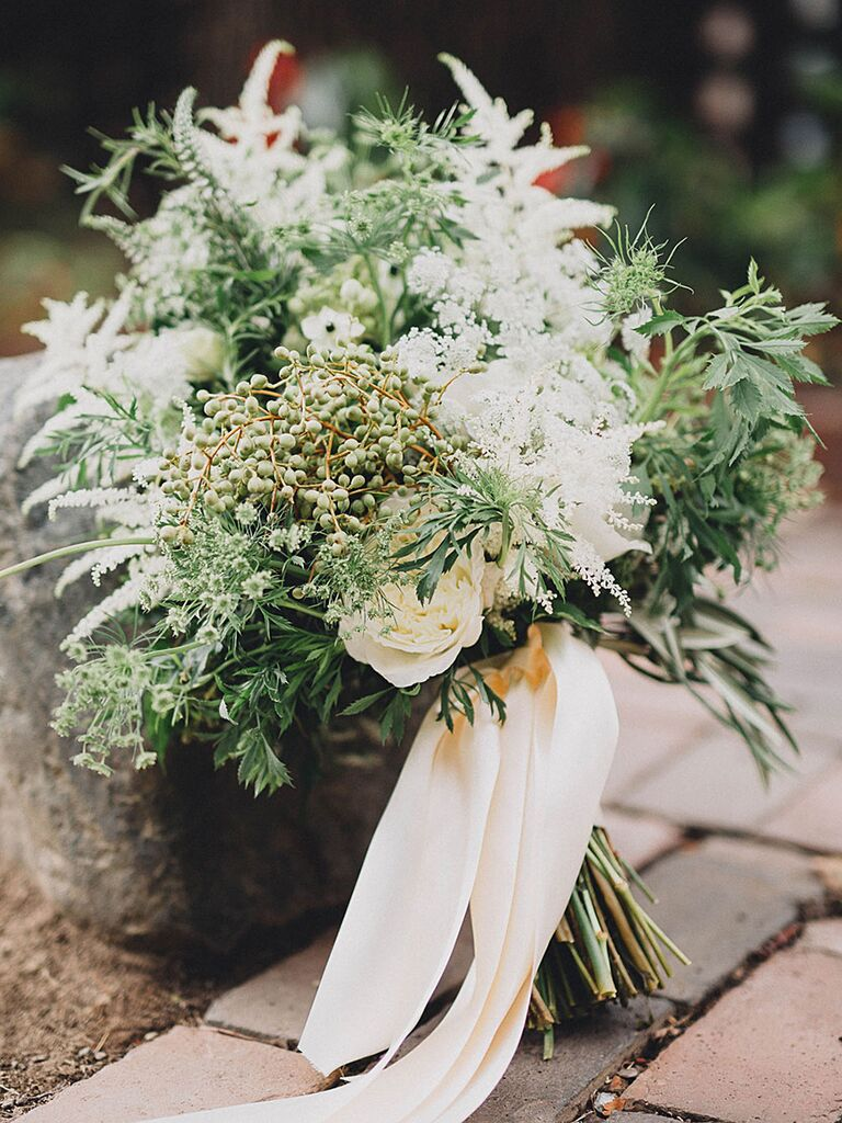 The prettiest greenery bouquets weve ever seen a bridal bouquet with garden roses and snapdragons izmirmasajfo
