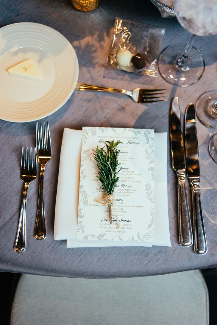 """The theme throughout our stationery was the trees,"" Meagan says. ""We did ivory stationery with green and taupe ink. I loved the spruce trees and the way it played into the reception location, and that it was also a nod to Colorado. Most of our guests were traveling from out of state, so I wanted them to really get a feel for Colorado, and the ranch lent itself perfectly to that."""