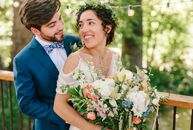 "Alima	Lindsey and David Gibson planned a fun-loving wedding with a romantic, bohemian aesthetic. ""I always tease my husband that almost every single p"