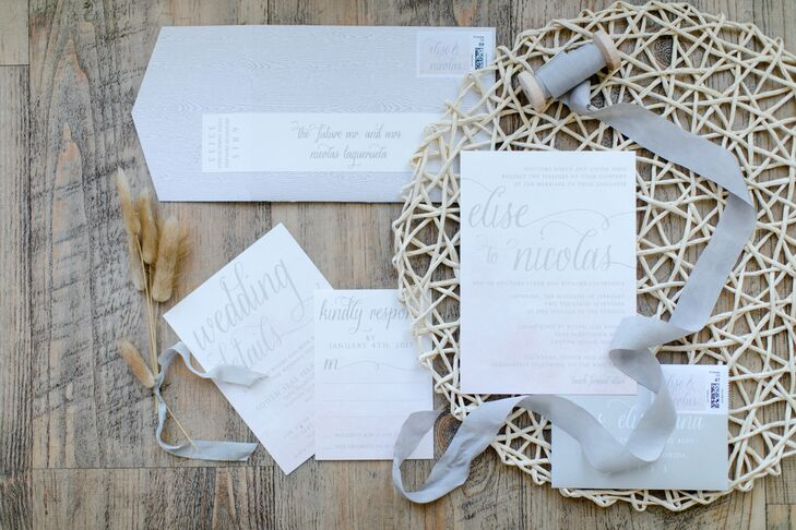 Elegant Invitation Suite with Wood Grain and Blush Watercolor Details