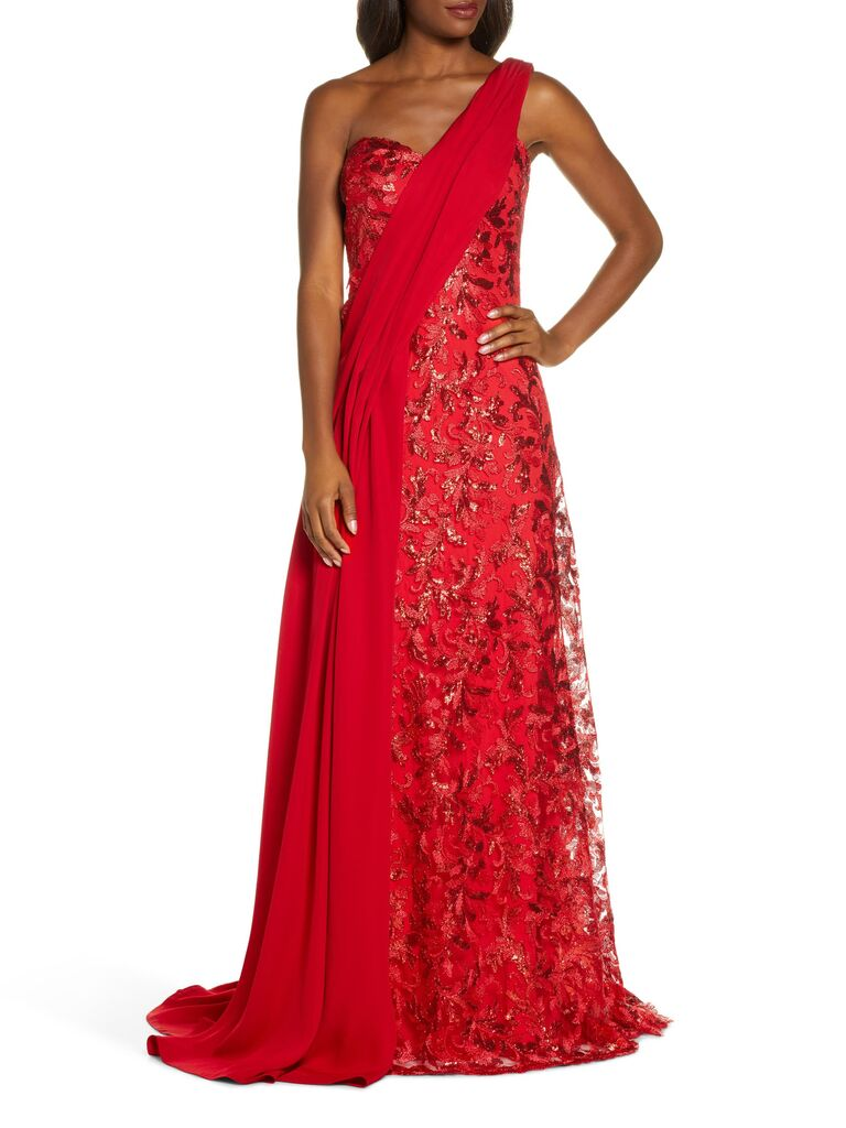 Tadashi Shoji one-shoulder sequin lace and crepe gown