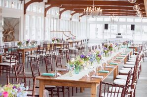 Long Wood Reception Tables and Chiavari Chairs
