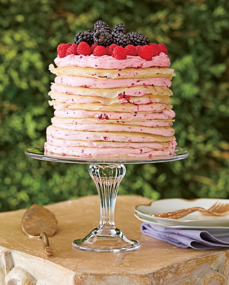 Berry-filled crepe cake