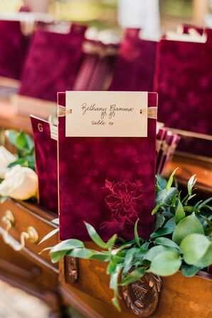 Burgundy Velvet Escort Cards