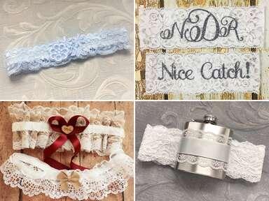 Bridal wedding garters and sets